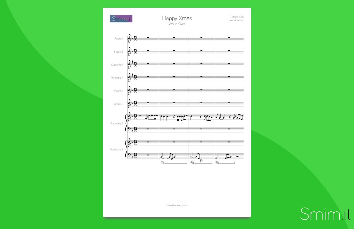 arrangiamento per orchestra scolastica di Happy Christmas