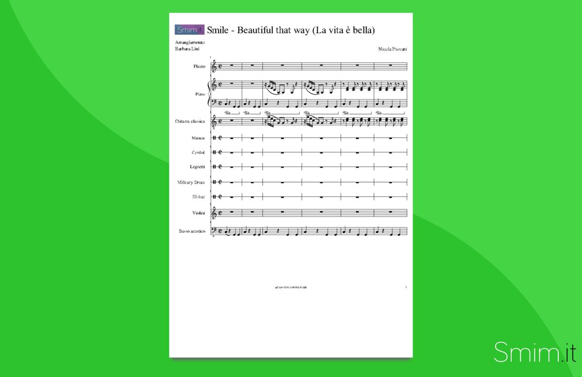 la vita è bella | partitura gratis per orchestra scolastica