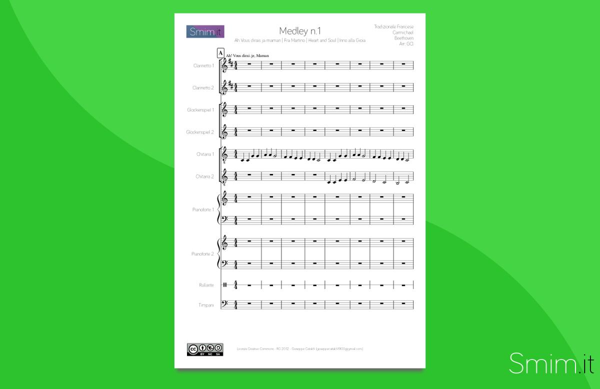 Medley N 1 Partitura Per Orchestra Scolastica