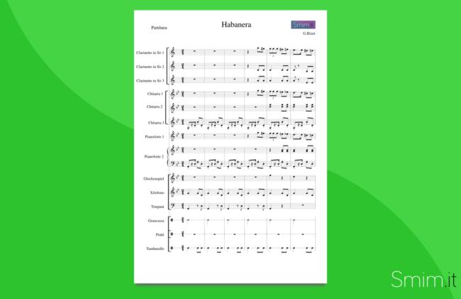 Habanera, dalla Carmen di Bizet (partitura gratis per orchestra scolastica)