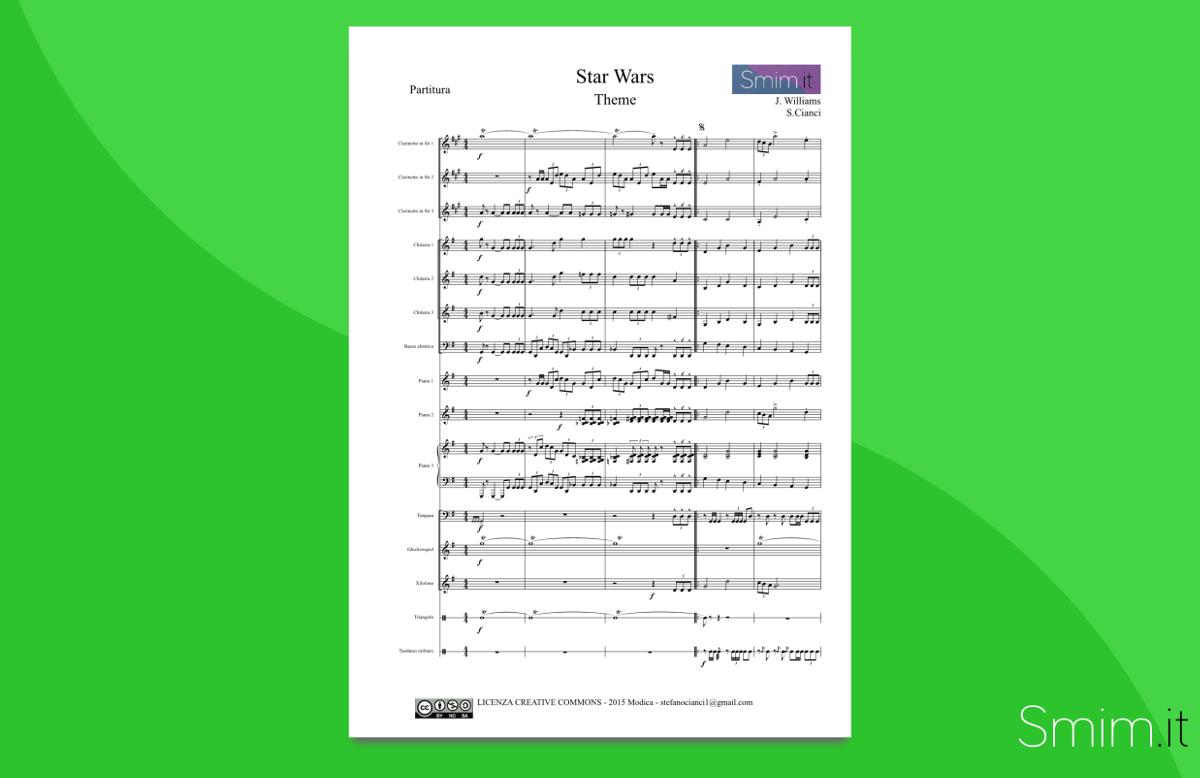 Star Wars (colonna sonora di john williams) - partitura per orchestra scolastica