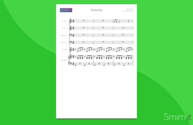 Yesterday - Partitura gratis per orchestra scolastica