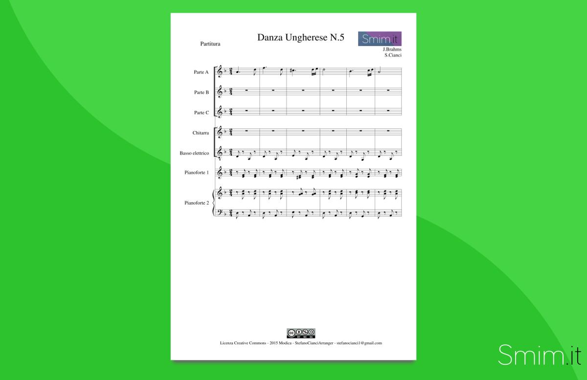 Danza Ungherese n.5 di Brahms - Partitura gratis per orchestra scolastica