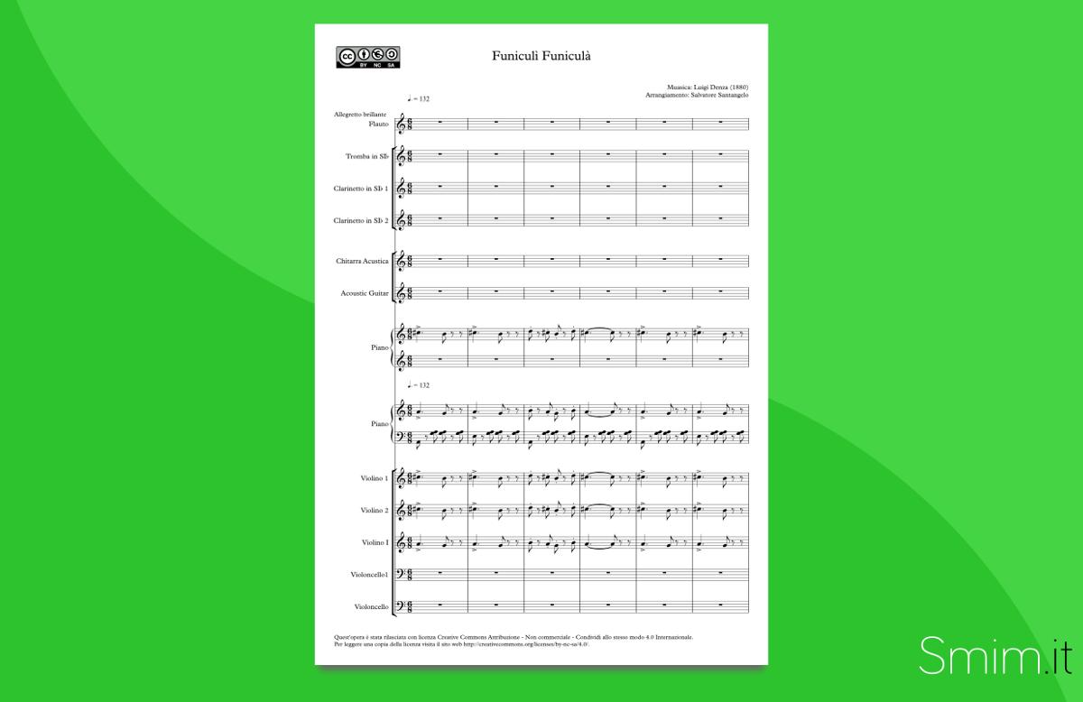 Funicul funicul partitura per orchestra scolastica for Facile creatore di piano