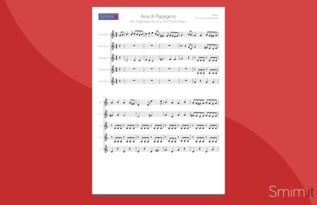 Aria di Papageno - Spartito gratis per Ensemble di Clarinetti