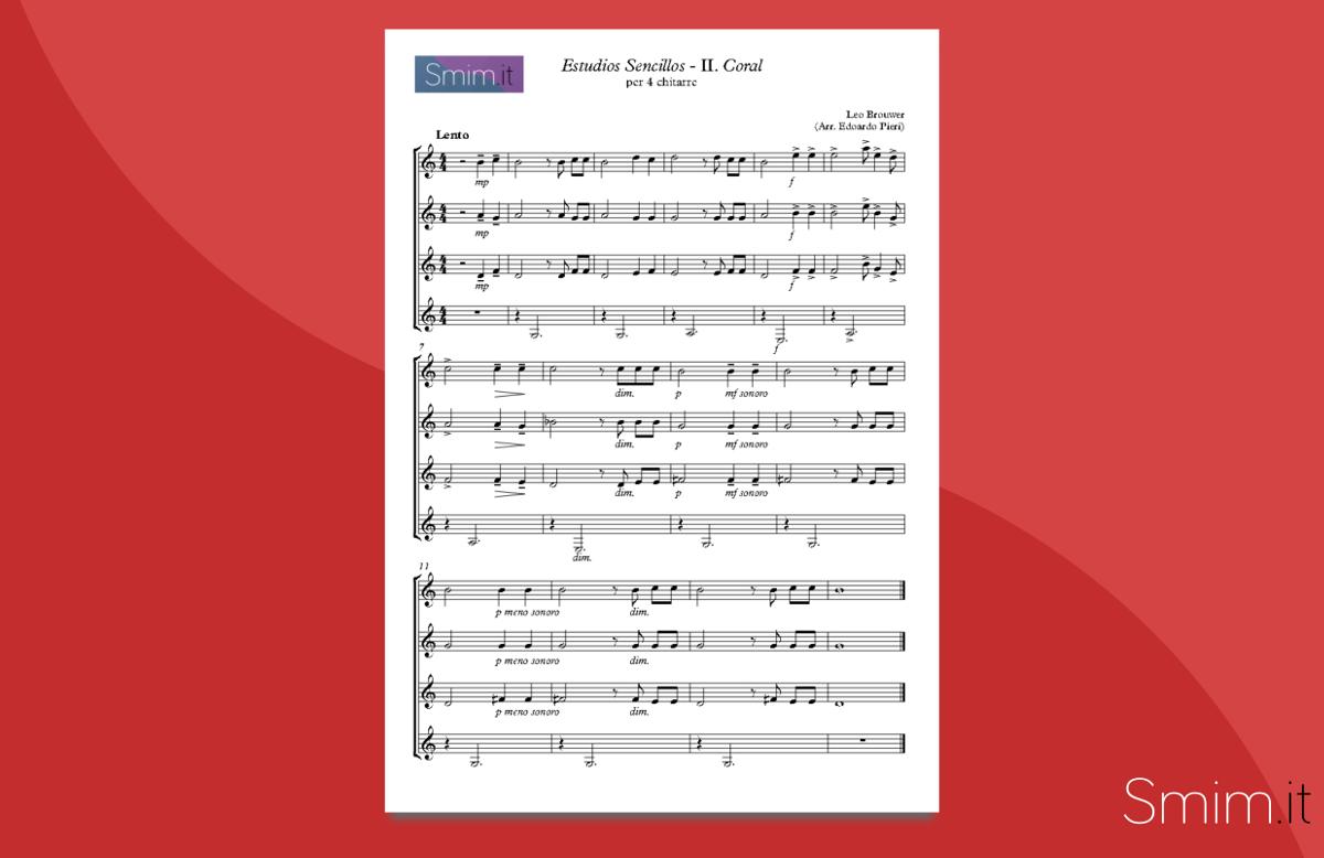 Studio semplice 2 di brouwer spartito per ensemble di for Semplice creatore di piano gratuito