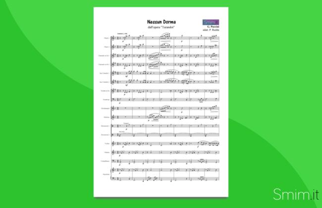 Nessun Dorma - Partitura gratis per orchestra scolastica