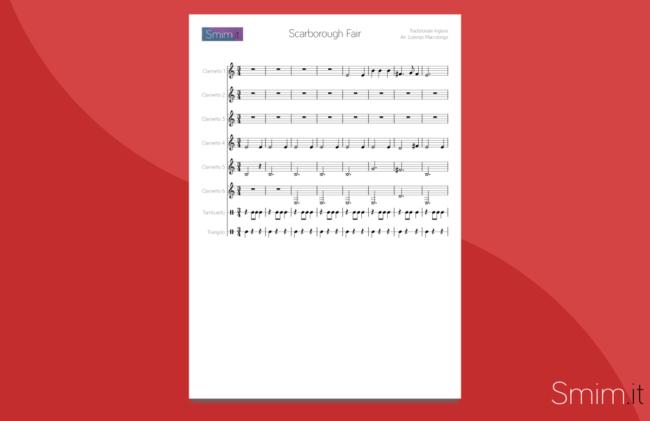 Scarborough Fair - Spartito gratis per ensemble di clarinetti