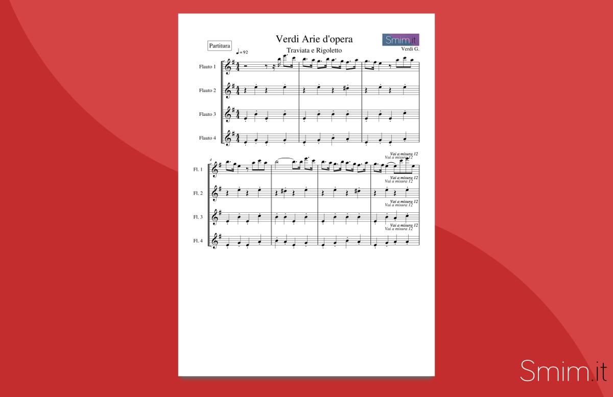 Verdi Medley - spartito gratis per ensemble di flauti