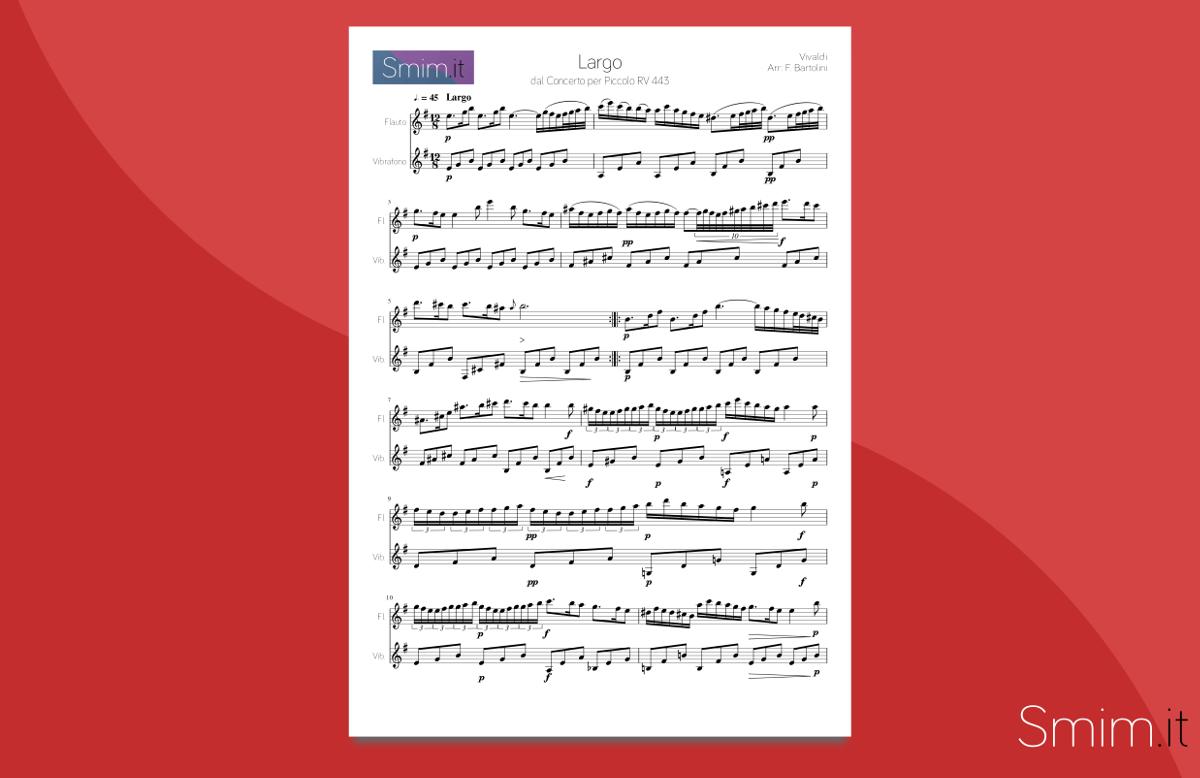 Favorito Largo di Vivaldi (spartito per flauto e vibrafono) OL29