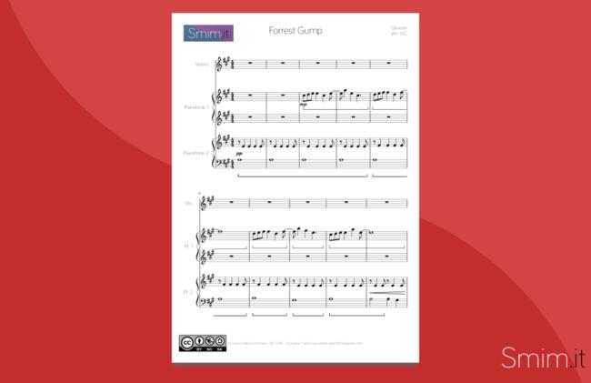 Forrest Gump - Spartito Gratis per Violino e Pianoforte a 4 mani