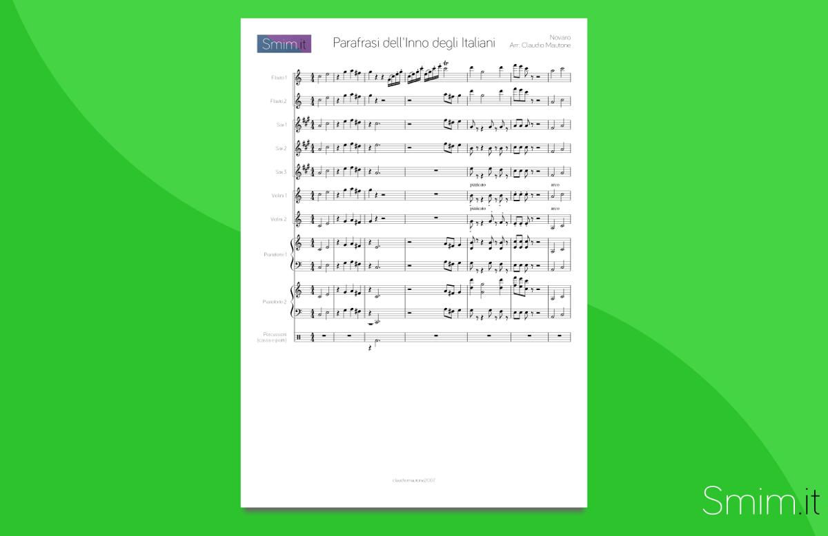 Inno di Mameli - Partitura Gratis per Orchestra Scolastica