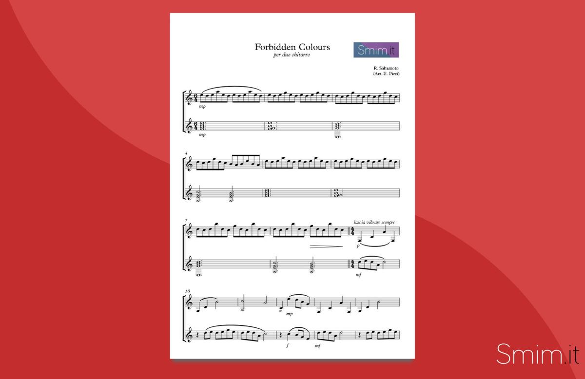 Forbidden Colours (Sakamoto) - spartito gratis per due chitarre