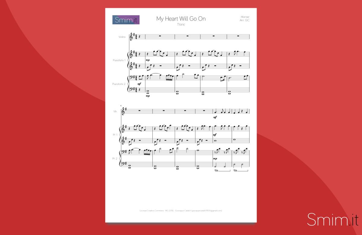 My Heart Will Go On - spartito gratis per violino e pianoforte 4 mani