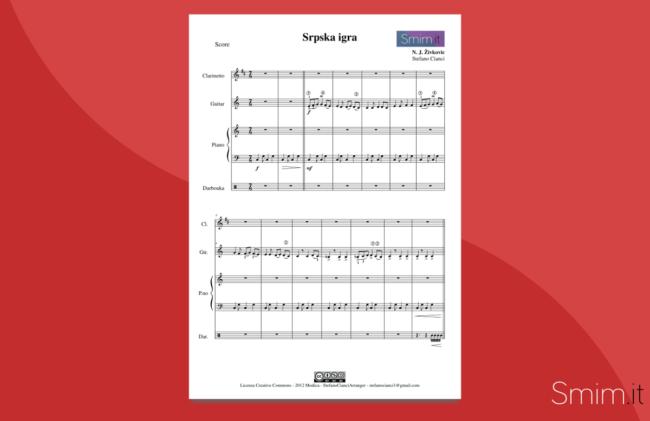 srpska igra (zivkovic) - spartito gratis per darbouka chitarra clarinetto pianoforte