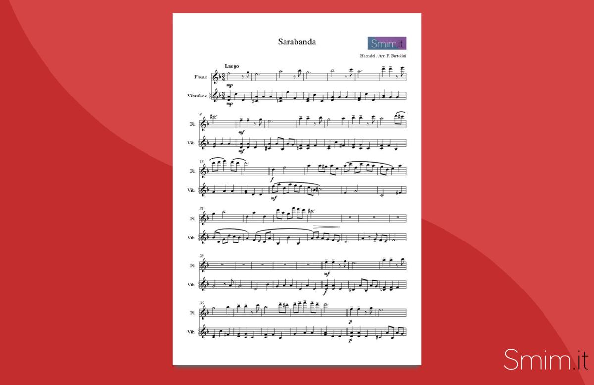 Sarabanda di Handel - spartito gratis per flauto e vibrafono