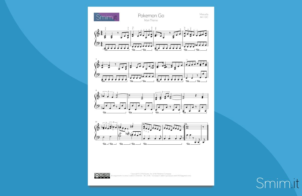 Pokemon GO - spartito per pianoforte