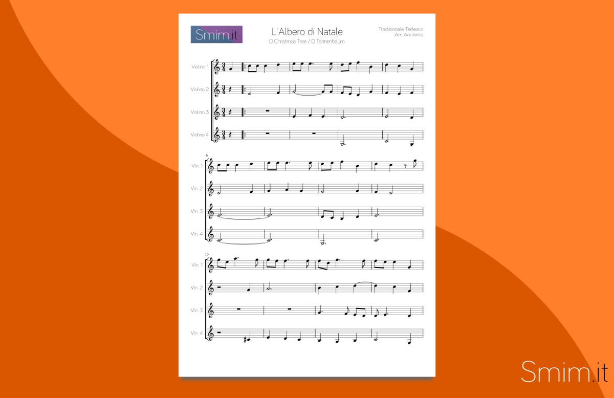 O Christmas Tree - Spartito per Ensemble di Violini