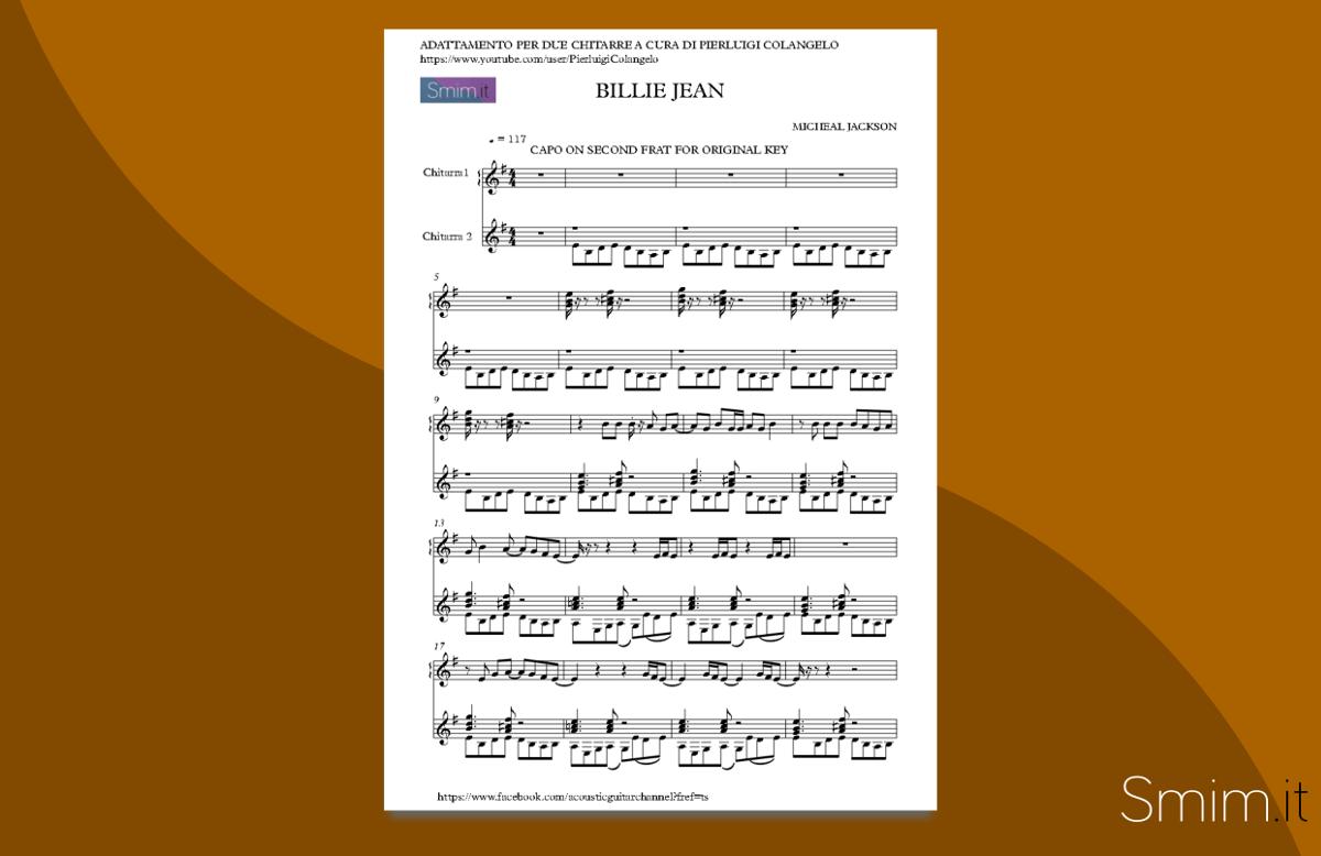 Billie Jean - Spartito per Duo di Chitarre
