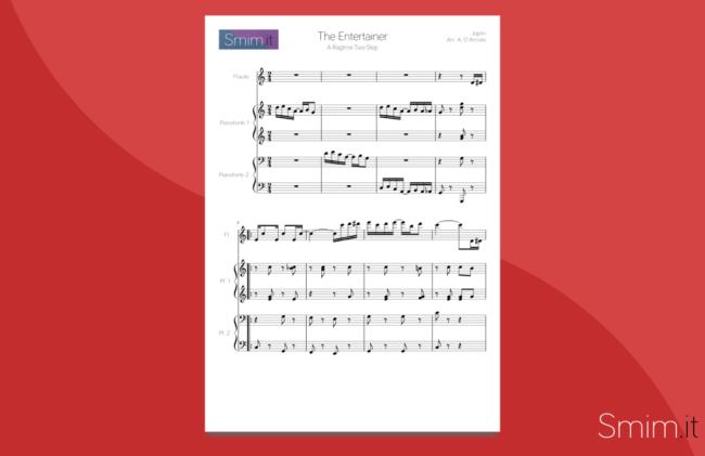 The Entertainer - Spartito per Flauto e Pianoforte a 4 Mani