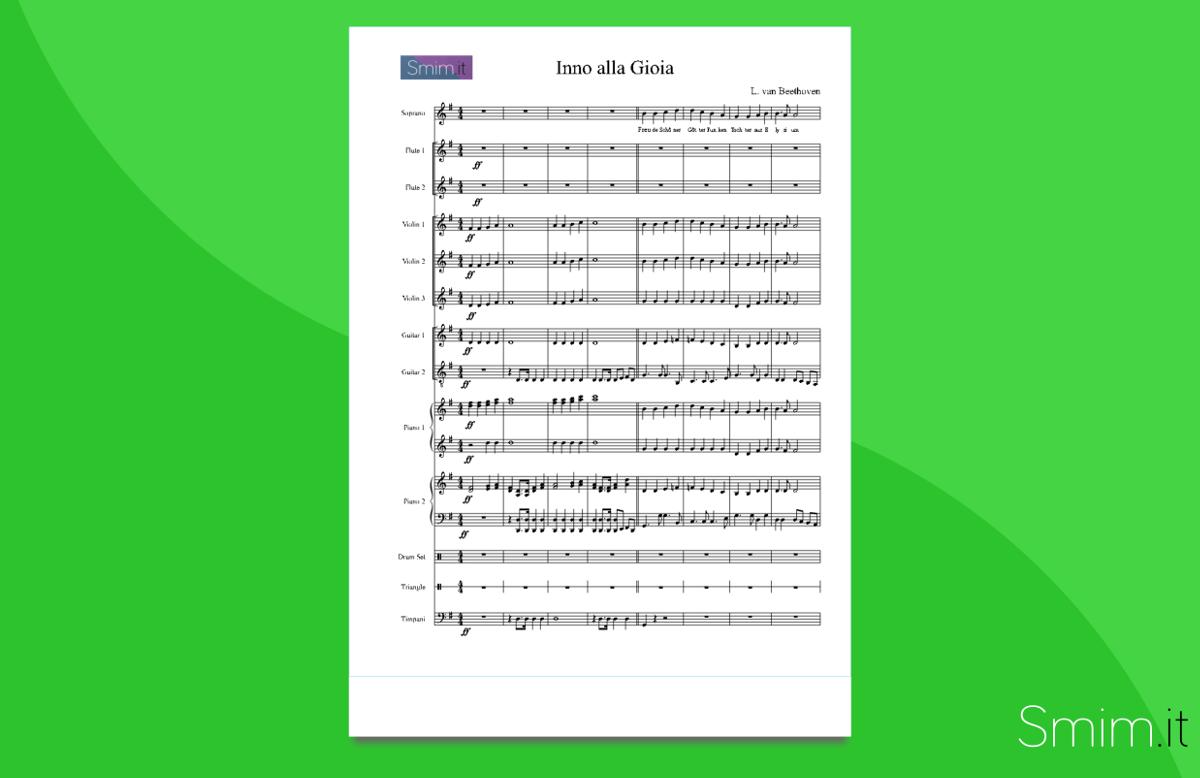 Inno alla Gioia - Partitura per Orchestra Scolastica
