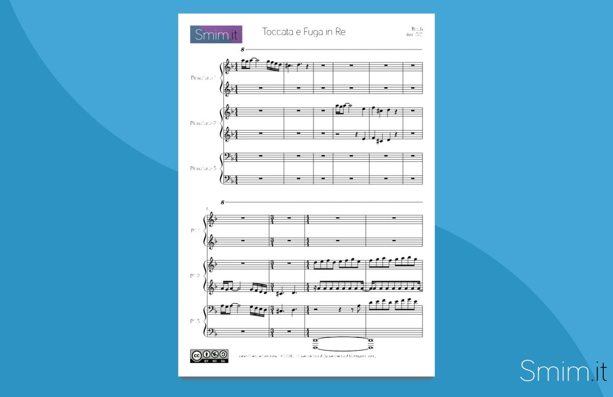 Toccata e Fuga in Re Minore   Spartito gratis per Pianoforte a 6 Mani