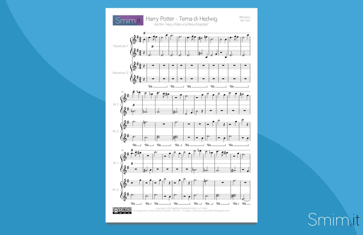 harry potter - hedwig's theme | Spartito gratis per Pianoforte a 4 mani