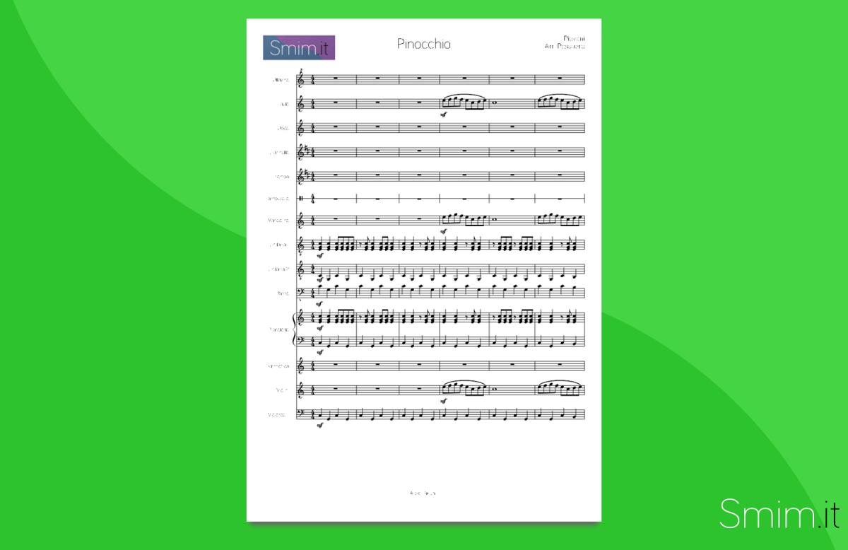 Pinocchio di Nicola Piovani | Partitura gratis per Orchestra Scolastica