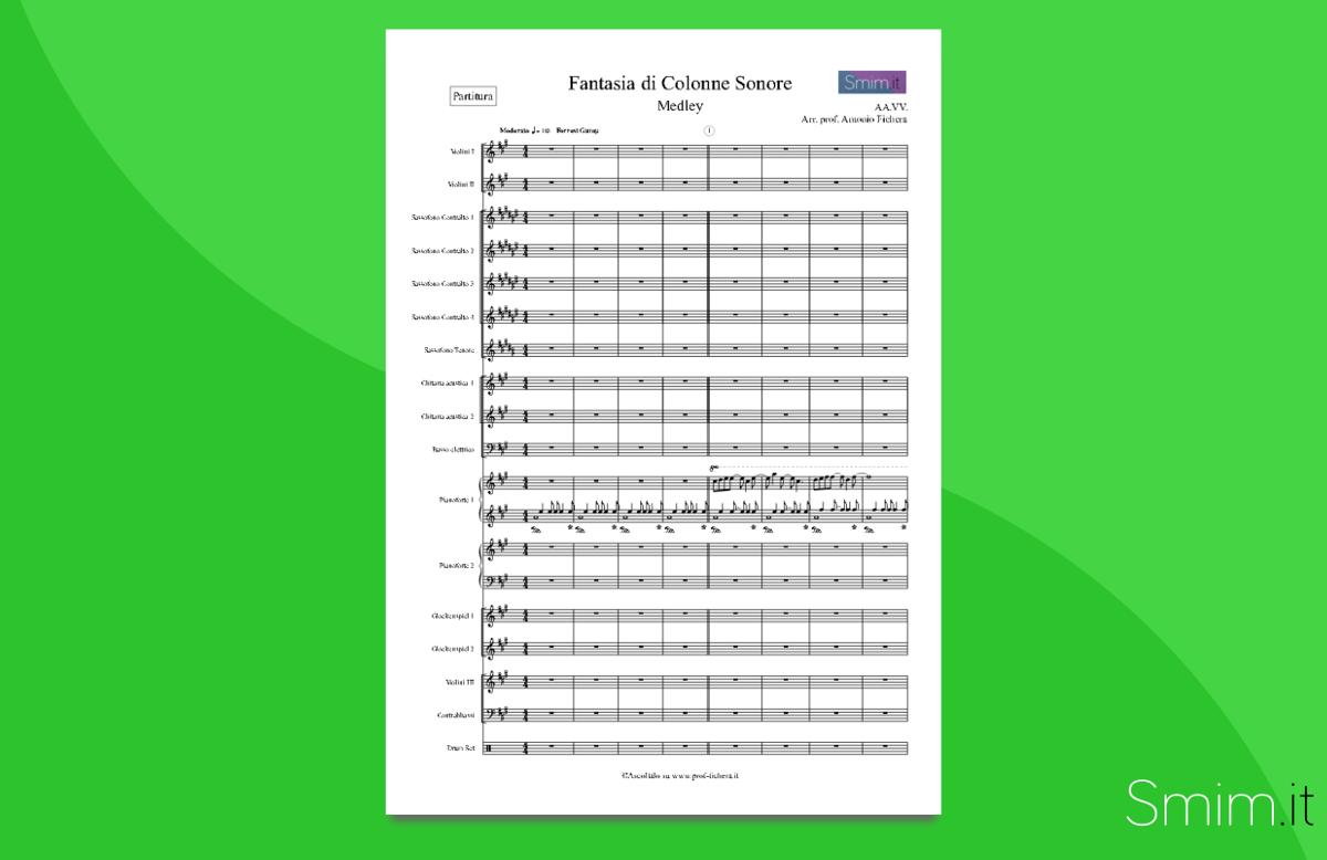 Fantasia di colonne sonore   Partitura gratis per orchestra scolastica