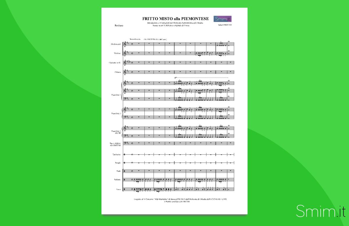 Fritto Misto alla Piemontese   Partitura gratis per orchestra scolastica