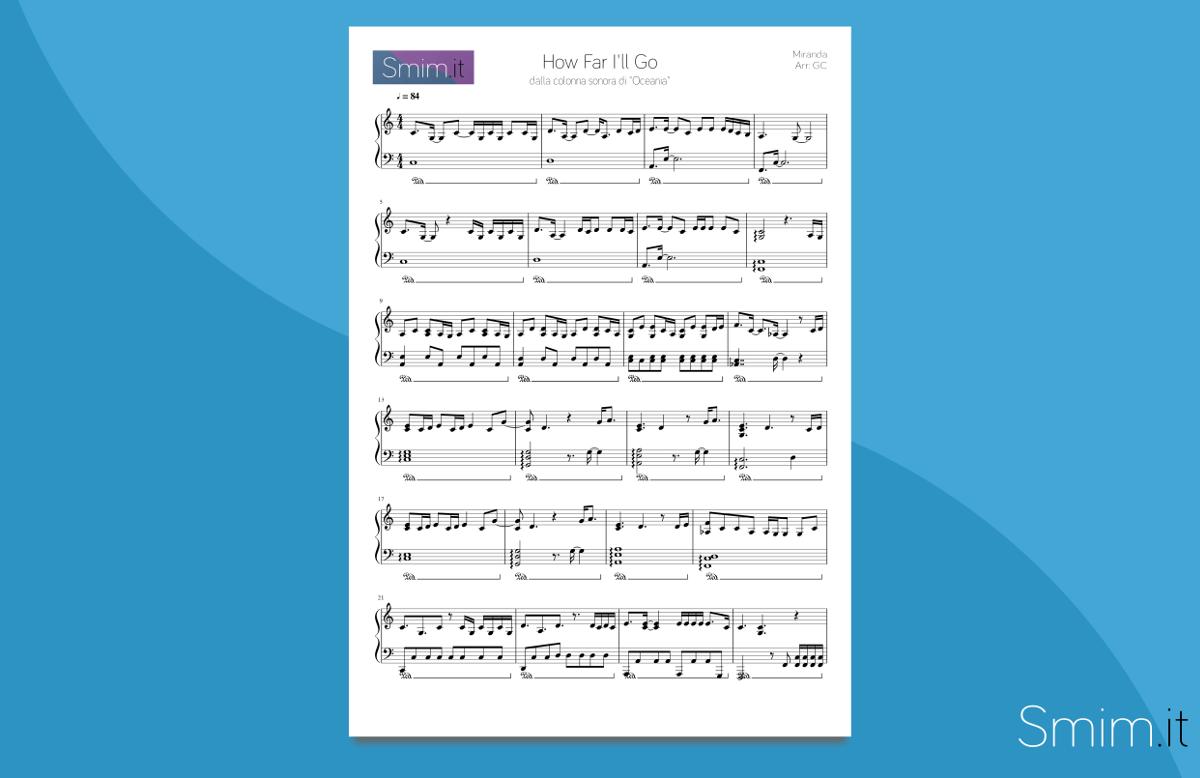 How Far I'll Go | Spartito gratis per pianoforte