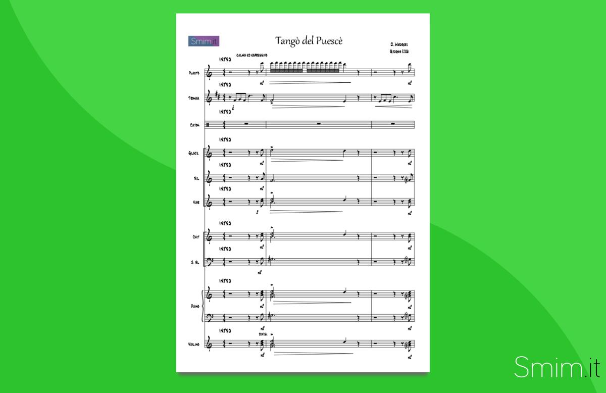 tango del puescè | partitura gratis per orchestra scolastica