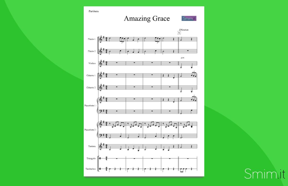 Top Amazing Grace (partitura per orchestra scolastica) ML08