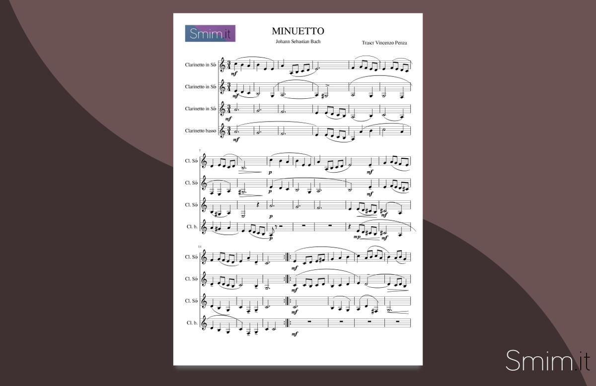 Bach - Minuetto in Sol- | Spartito gratis per quartetto di clarinetti