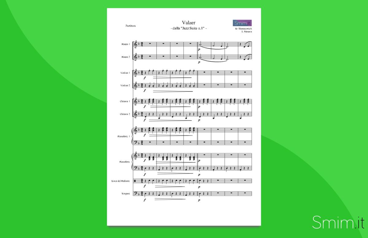 shostakovich - valzer n.2 | partitura gratis per orchestra scolastica