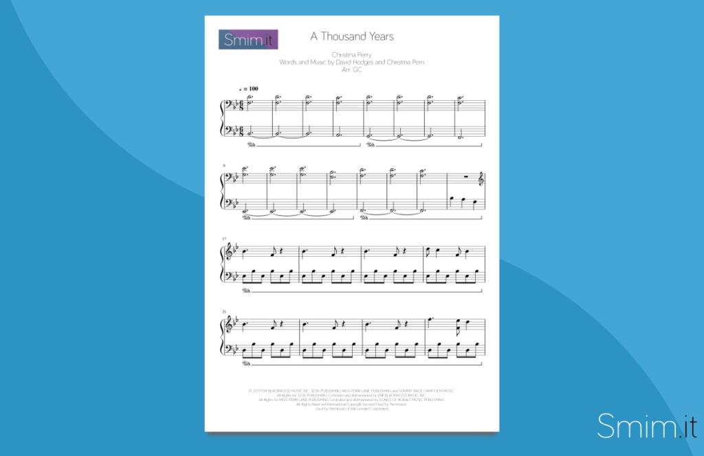 a thousand years | spartito per pianoforte