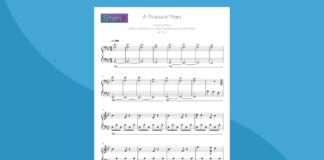 a thousand years   spartito per pianoforte