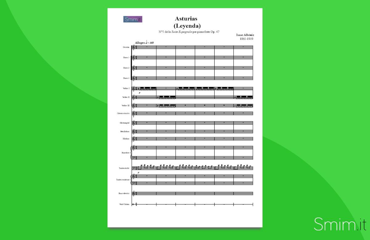 asturias di albeniz | partitura gratis per orchestra scolastica