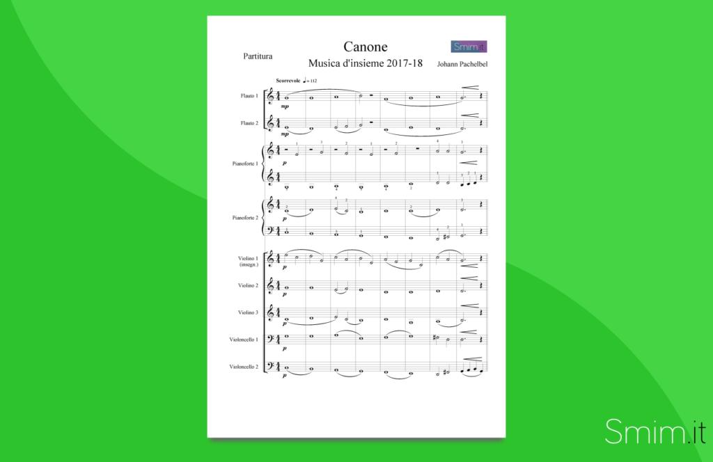 canone di pachelbel - partitura gratis per orchestra di scuola media ad indirizzo musicale