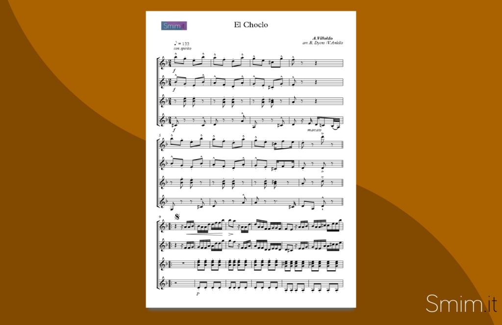el choclo | spartito gratis per quartetto di chitarre