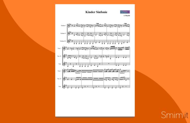 haydn - sinfonia dei giocattoli | spartito gratis per trio di violini
