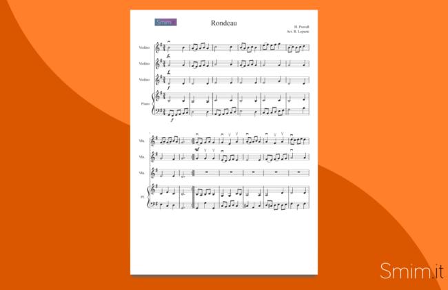 rondeau di purcell | spartito gratis per trio di violini