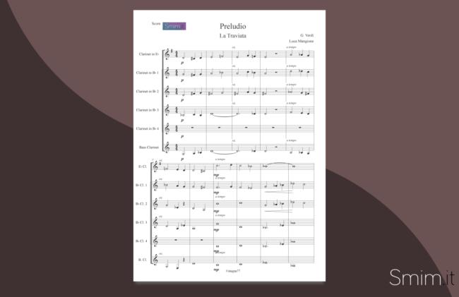 preludio da la traviata | spartito gratis per ensemble di clarinetti