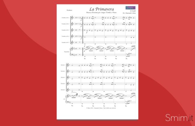 la primavera da le 4 stagioni di vivaldi | spartito gratis per ensemble di trombe