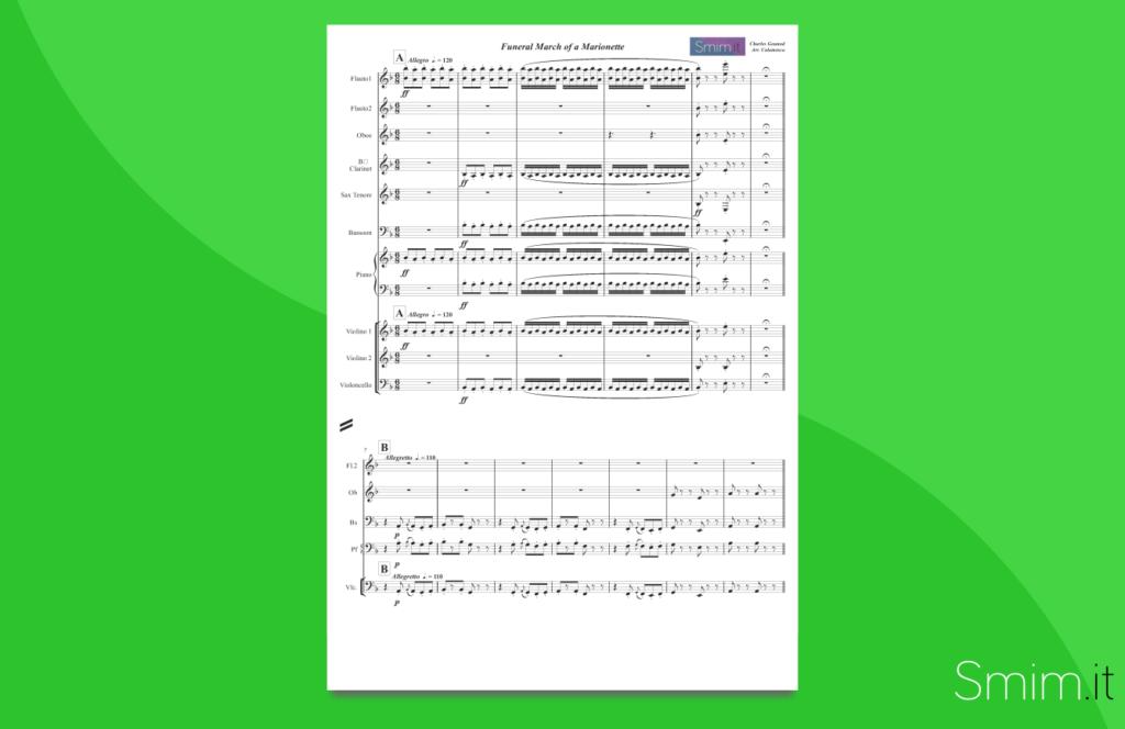gounod - marcia funebre per una marionetta | partitura gratis per orchestra scolastica