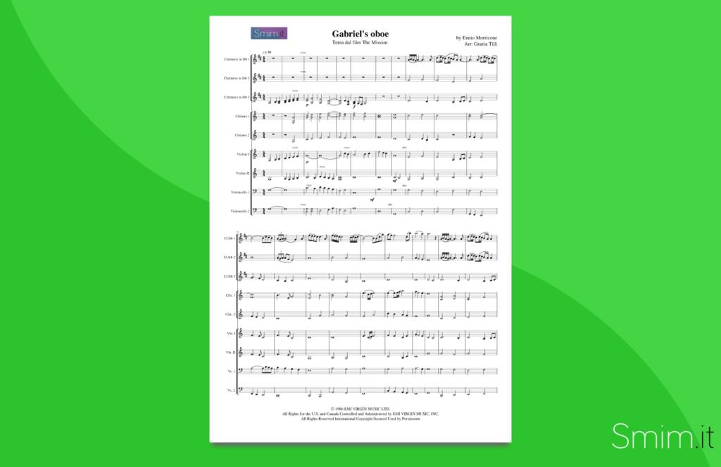 gabriel's oboe, di morricone | partitura per orchestra scolastica