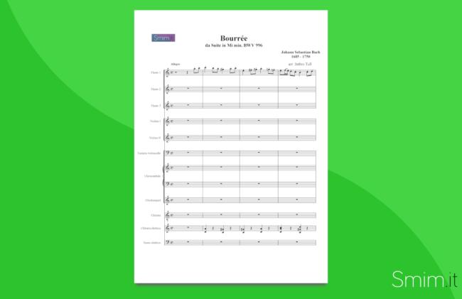 bourrèe dalla suite in mi- di bach | partitura gratis per orchestra di scuola media ad indirizzo musicale
