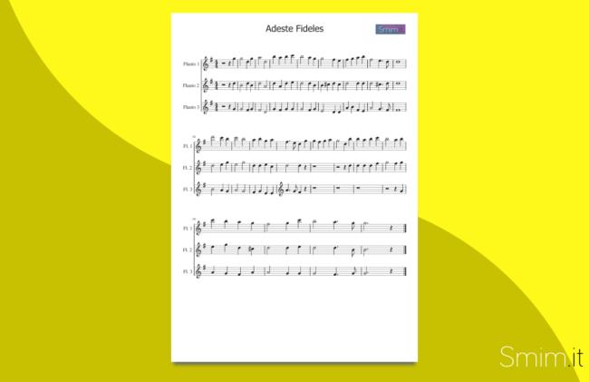 adeste fideles | spartito gratis per trio di flauti