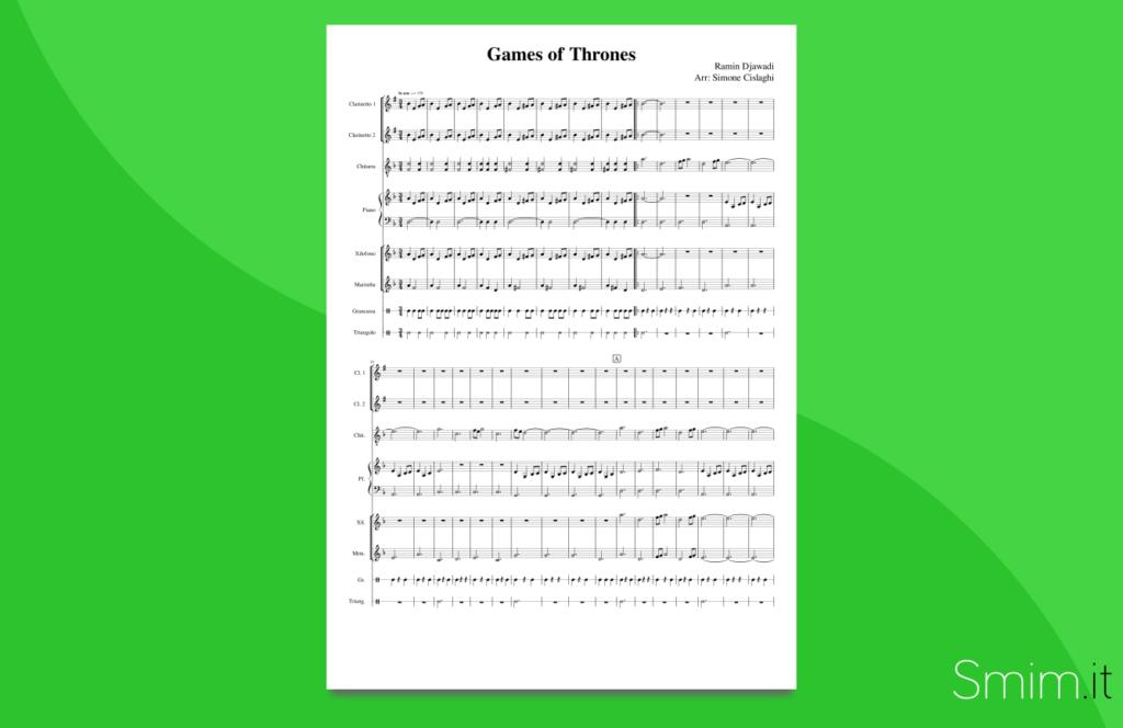 game of thrones   partitura per orchestra scolastica