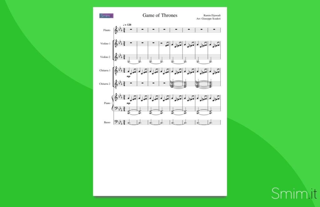 il trono di spade | partitura per orchestra di scuola media ad indirizzo musicale